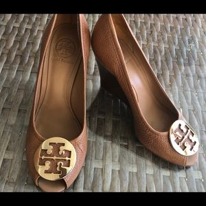 Tory Burch Tan Sally 2 Leather Peep Toe Wedge Heel